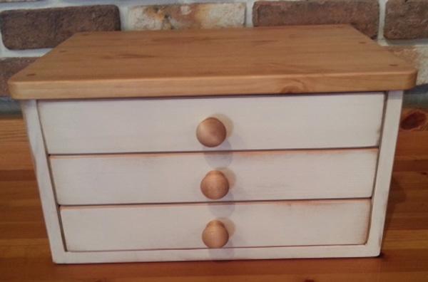 [カントリー家具] A4サイズレターケースBOX(アンティークホワイト)(引出/ファイルケース)パイン材木製 ナチュラル カントリーテイスト フレンチカントリー モダン 無垢