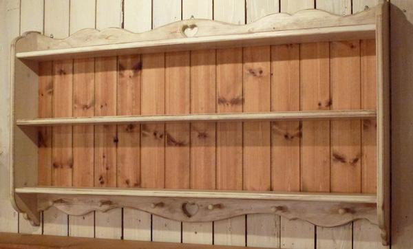 [カントリー家具 収納 ラック] キッチンシェルフ(アンティーク風 2段シェルフ)(スパイスラック) 壁掛けシェルフ【送料無料】 [完成品]木製 ナチュラル カントリーテイスト フレンチカントリー モダン 無垢