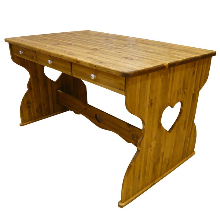 [カントリー家具]引き出付ダイニングテーブルW1300【送料無料】リビングテーブル[完成品]木製 ナチュラル カントリーテイスト フレンチカントリー モダン ナチュラル 無垢