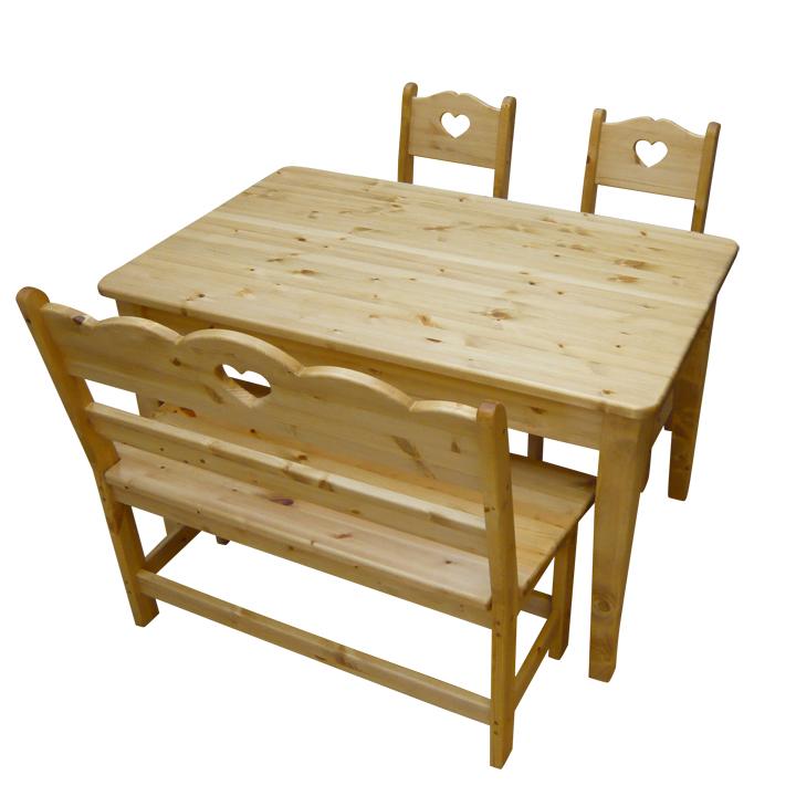 [カントリー家具] ダイニングテーブル4点セットW1200 【送料無料】パイン材 テーブル 食卓テーブル [完成品]木製 ナチュラル カントリーテイスト フレンチカントリー モダン 無垢
