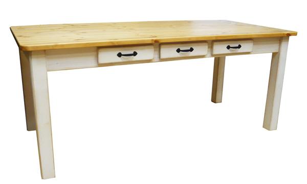 [カントリー家具]アンティーク風ダイニングテーブルW1800【送料無料】パイン家具 テーブル ダイニング ラスティック[完成品]木製 ナチュラル カントリーテイスト フレンチカントリー モダン 無垢