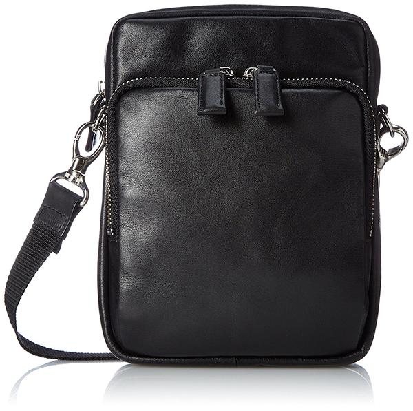 ショルダーバッグ ベルトポーチ メンズ 本革 牛革 EVERWIN 日本製 レザー ウェストバッグの2WAY仕様 ブラック 紳士用 男性用 かばん カバン 鞄 22108