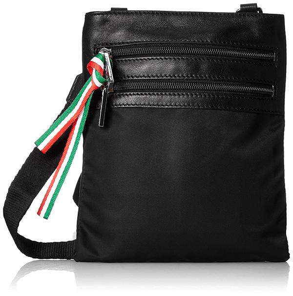 全2色 ショルダーバッグ メンズ レディース EVERWIN イタリア製 牛革付属の軽量ナイロン コンパクトショルダー ブラック ネイビー 紳士用 男性用 女性用 かばん カバン 鞄 22112