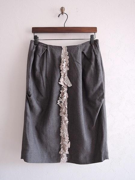 ミナペルホネン mina perhonen forest parade 刺繍モチーフ付きスカート 38【中古】【70E81】【高価買取中】【店頭受取対応商品】