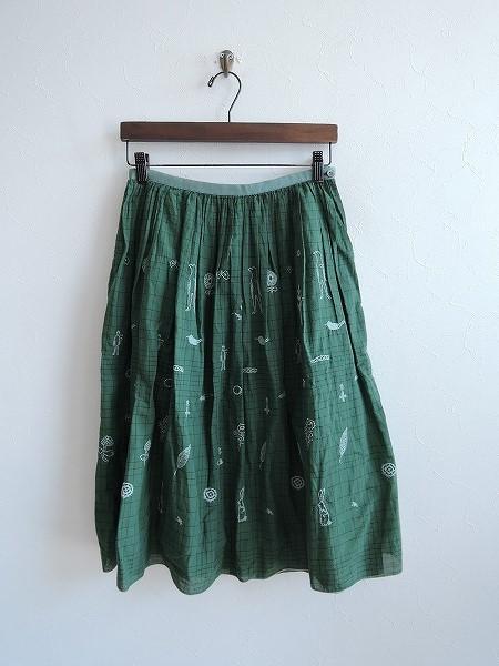 ミナペルホネンランドリー mina perhonen laundry wander刺繍入りギャザースカート 36【中古】【72E81】【高価買取中】【店頭受取対応商品】
