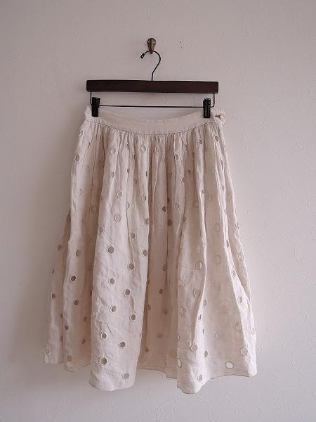 ミナペルホネンランドリー mina perhonen laundry vapor リネンカットワーク刺?スカート 38【中古】【90F81】【高価買取中】【店頭受取対応商品】