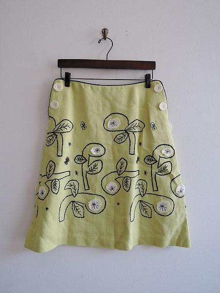 ミナペルホネン mina perhonen bow 刺繍リネンコットンスカート 38【中古】【51F81】【高価買取中】【店頭受取対応商品】