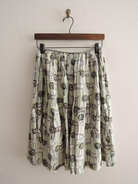 ミナペルホネン mina perhonen look プリントギャザースカート 36【中古】【40B91】【高価買取中】【店頭受取対応商品】