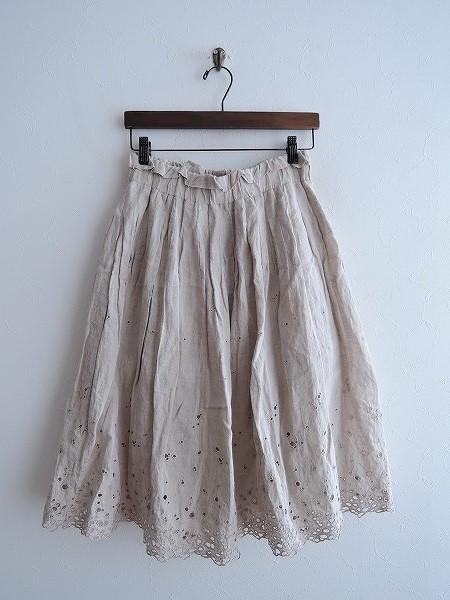 ミナペルホネンランドリー mina perhonen laundry sunny spotsアイレット刺繍ギャザースカート 36【中古】【11A91】【高価買取中】【店頭受取対応商品】
