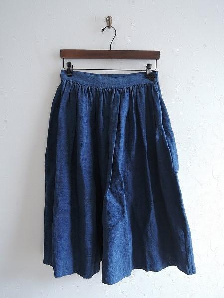 ランフランセダンタン Lin francais d'antan デニム風リネンギャザースカート -【中古】【90D91】【高価買取中】【店頭受取対応商品】