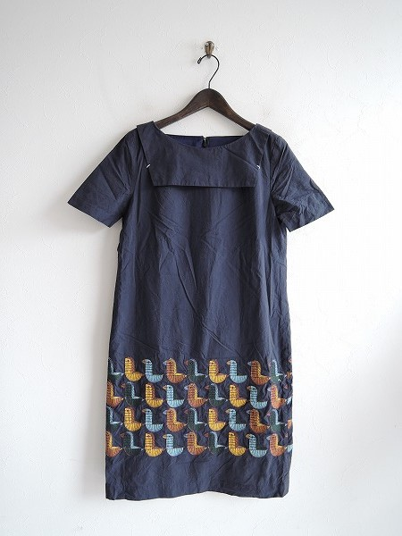 ミナペルホネン mina perhonen wood bird 刺繍ワンピース 36【中古】【03J91】【高価買取中】【店頭受取対応商品】
