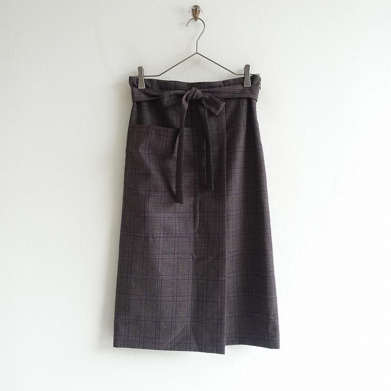 【美品】 アドーア ADORE チェックウールラップ風スカート 38 ウエスト65 ヒップ88【中古】【50D02】【高価買取中】【店頭受取対応商品】