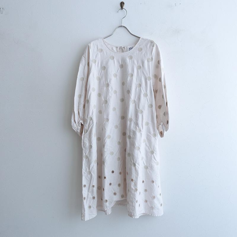 ミナペルホネンランドリー mina perhonen laundry vaporドレス 刺繍ワンピース 36【中古】【50E02】【高価買取中】【店頭受取対応商品】