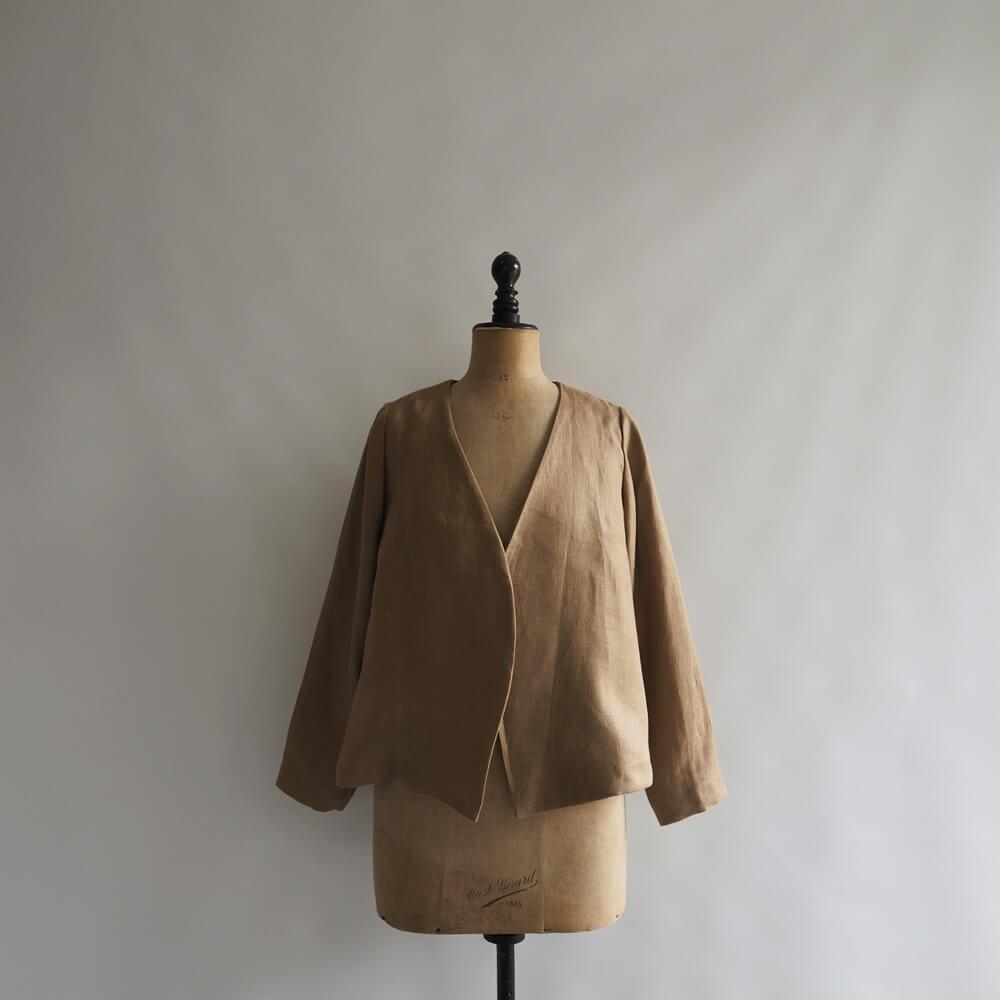 【新品】 ザファクトリー THE FACTORY Linen Dobby No Collar Jacket リネンドビー ノーカラージャケット F【31E02】【高価買取中】【店頭受取対応商品】