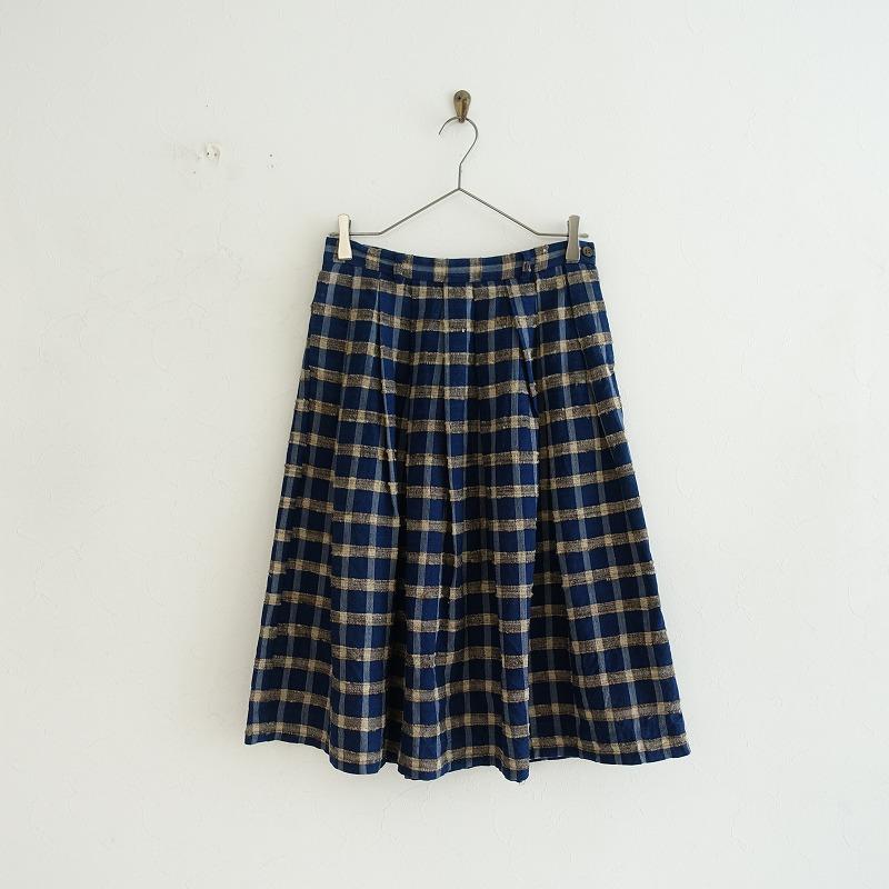 45アールピーエム R45RPM タッサーシルク丹波布格子スカート 2【中古】【22F02】【高価買取中】