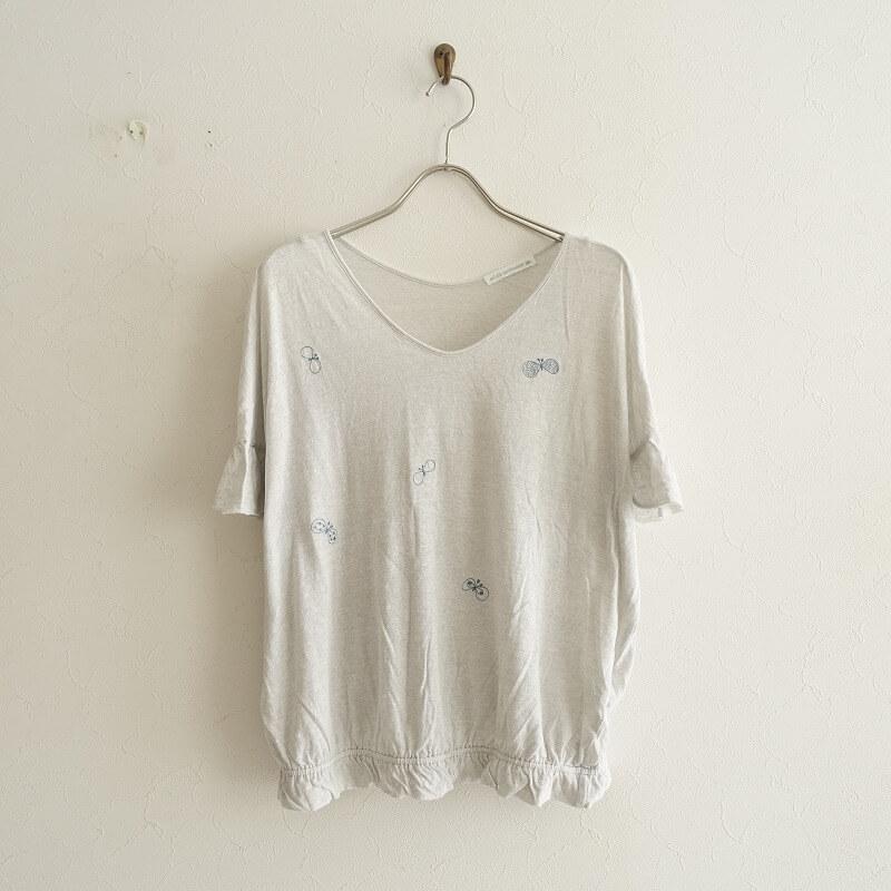 ミナペルホネン mina perhonen choucho 刺繍カットソー 38【中古】【82F02】【高価買取中】