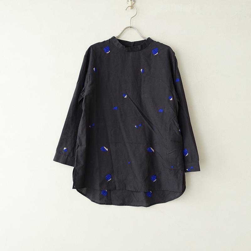 ミナペルホネン mina perhonen pebble スタンドカラーコットン刺繍シャツ 38【中古】【10G02】【高価買取中】