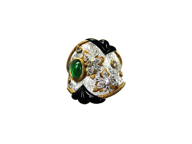 :エメラルド ダイヤモンド オニキス リング K18 プラチナ #11.5 指輪【中古】