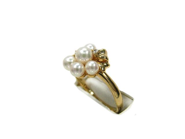 ◇:パール本真珠 ダイヤモンド K18 リング #14号 真珠 指輪 田崎【中古】美品 TASAKI