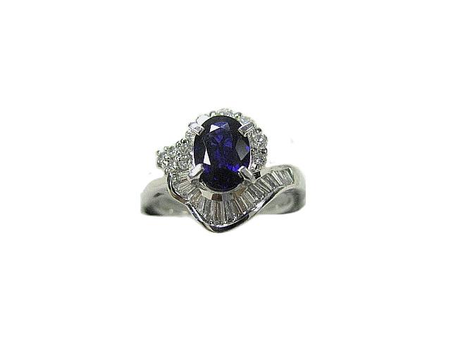 :プラチナ サファイア ダイヤモンド リング #13号 指輪 Pt