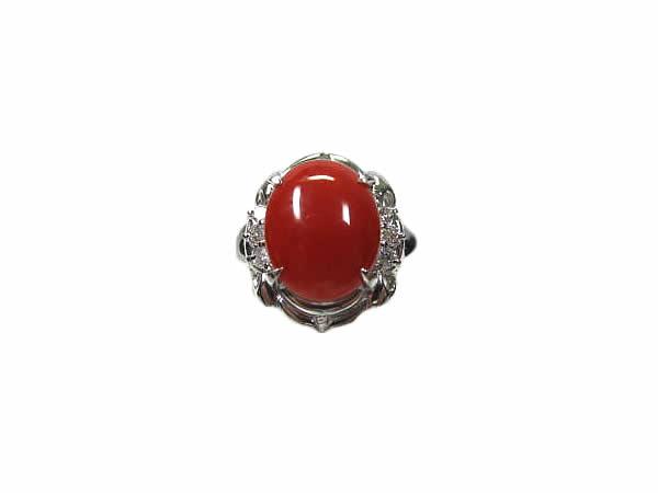 ☆:プラチナ サンゴ ダイヤモンド リング Pt900 珊瑚(さんご) 指輪 【中古】