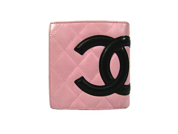 シャネル カンボンライン がま口 財布 ピンク×ブラック CHANEL 二つ折り財布【中古】【送料無料】