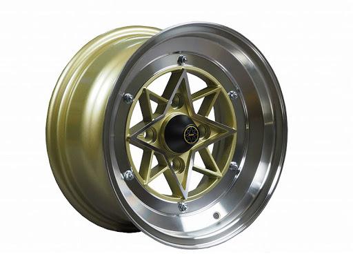 [COLIN PROJECT] 旧車ホイール GOLD 復刻版 4本購入で送料無料 4H PCD114.3 -26 STAR SHARK (スターシャーク) 14×9.0J