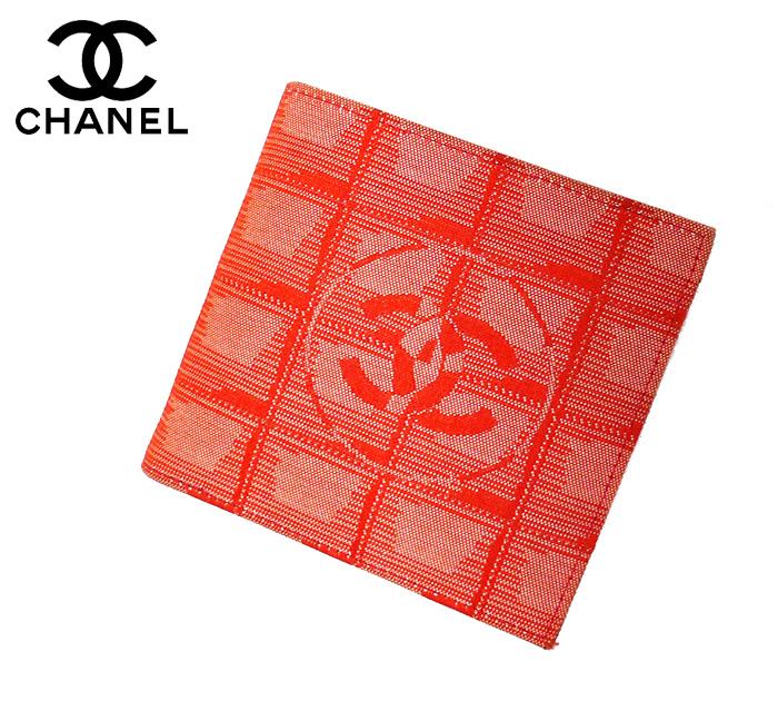 【CHANEL】シャネル ニュートラベルライン 2つ折り 財布 レッド 赤 サイフ【中古】