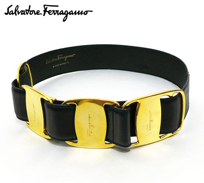 【Salvatore Ferragamo】 サルヴァトーレ フェラガモ ヴァラ バックル ベルト ~68cm ゴールド ブラック 黒 【中古】