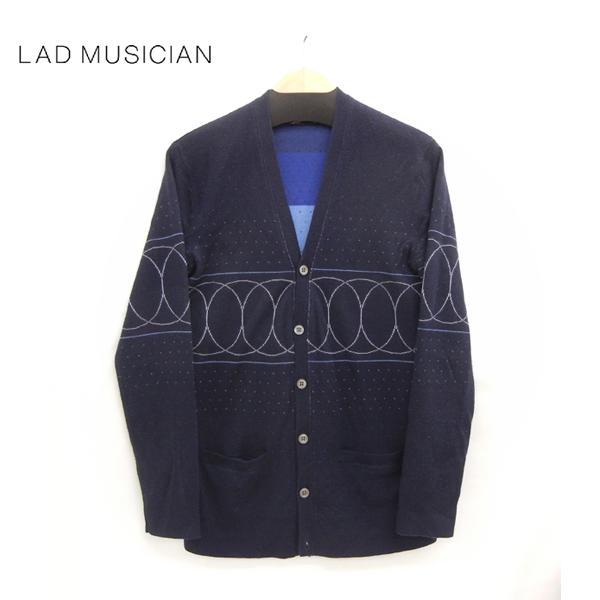 【LAD MUSICIAN】MERINO WOOL CARDIGAN ラッドミュージシャン ニットカーディガン サイズ44 ネイビー系 紺 【中古】