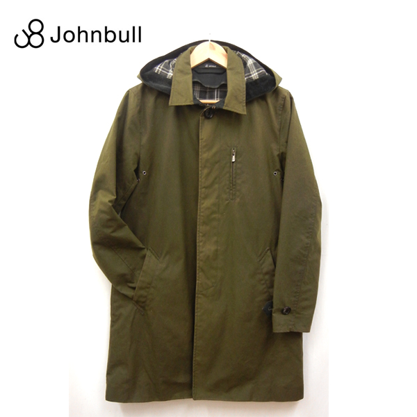 【Johnbull】ジョンブル フード付 オイルドコットン ステンカラーコート 16379 サイズS オリーブ 深緑 ブリティッシュミラレーン社 【中古】