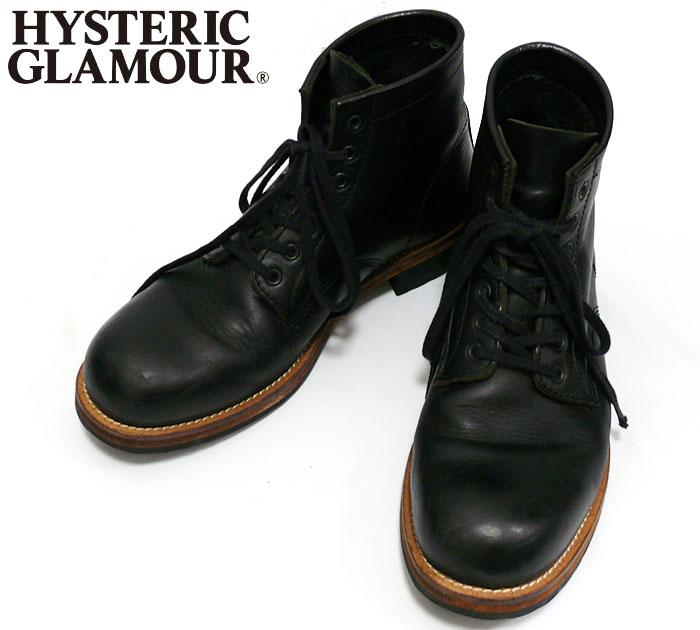 【ヒステリックグラマー】HYSTERIC GLAMOUR モカシンブーツ size8 ブラック  中古 靴 シューズ くつ【中古】