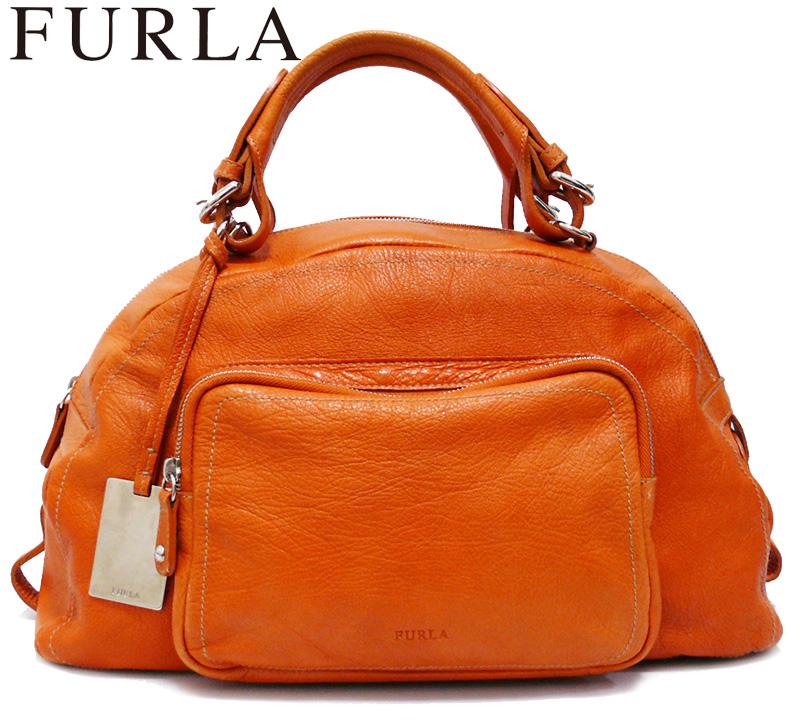 【FURLA】フルラ オールレザー ミニボストンバッグ オレンジ ハンドバッグ【中古】