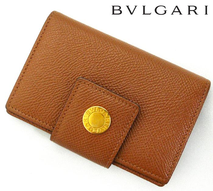 【BVLGARI】ブルガリ レザー カードケース 名刺入れ 小物入れ ブラウン 茶【中古】