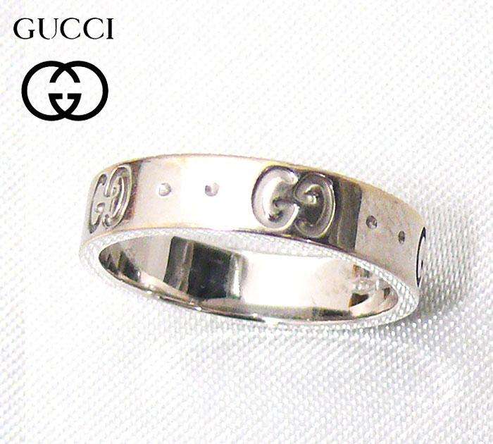 【GUCCI】グッチ K18WG アイコンリング 8号 18金ホワイトゴールド 指輪【中古】