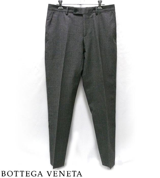 【BOTTEGA VENETA】ボッテガ ヴェネタ ヴァージンウール センタープレス パンツ スーツ ズボン グレー 灰色【中古】