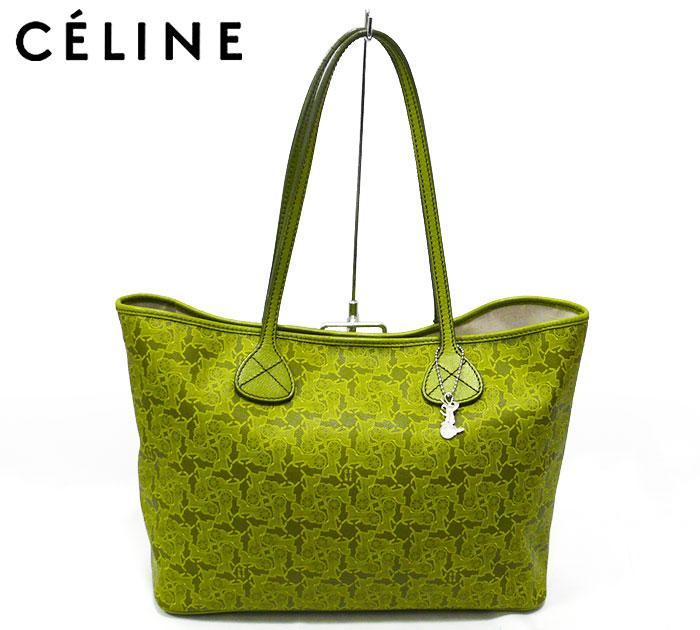 b4af3b6af2c5 【CELINE】セリーヌ サルキー ロゴグラム トートバッグ イエローグリーン 黄緑 ショルダーバッグ PVC 塩