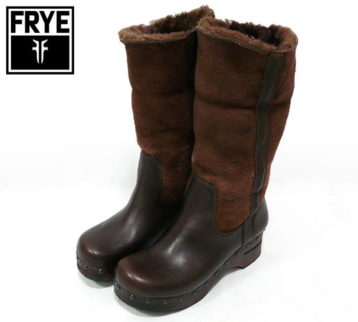 【FRYE】フライ ムートンブーツ ブラウン 茶色 サイズ5 1/2 靴 シューズ くつ【中古】