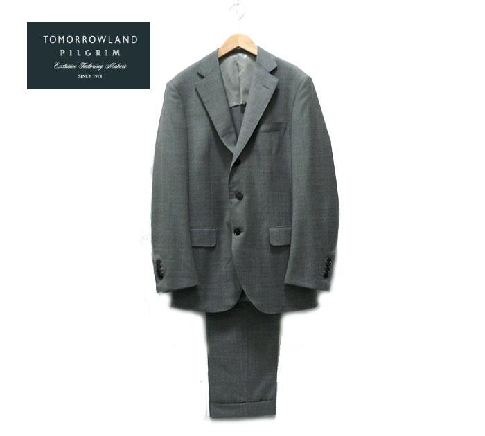 【TOMORROW LAND PILGRIM】トゥモローランド ピルグリム エルメネジルド ゼニア ウール 3Bスーツ グレー サイズ48 【中古】