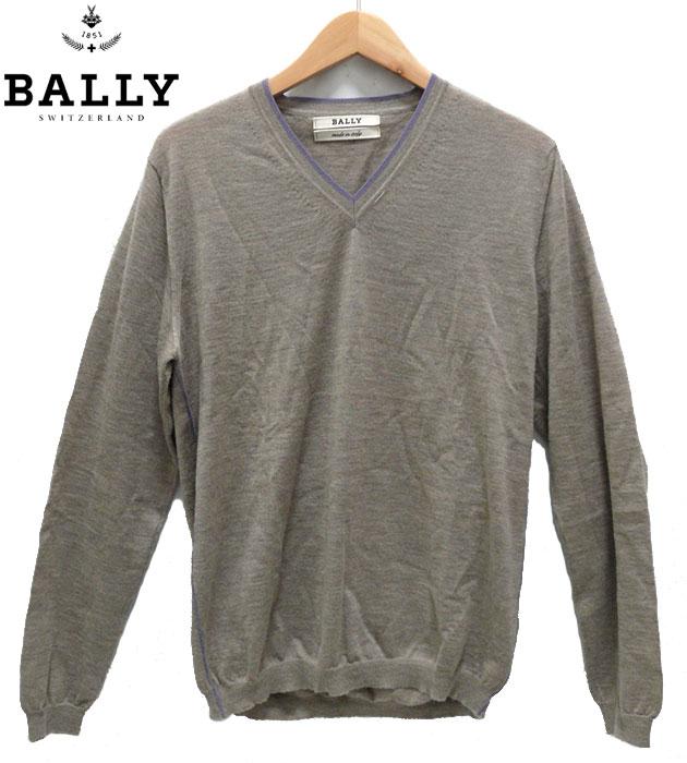 【BALLY】 バリー カシミア100% Vネック セーター イタリア製 グレー サイズ36 男性用 メンズ ブランド カジュアル 【中古】