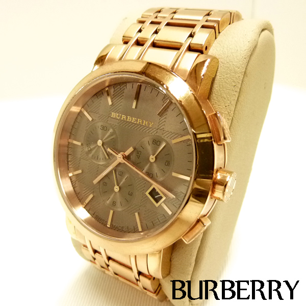 最高級 【BURBERRY】バーバリー クロノグラフ BU1862 ピンクゴールド メンズ 腕時計 クオーツ 美品【】, 追分町 ddbe371f