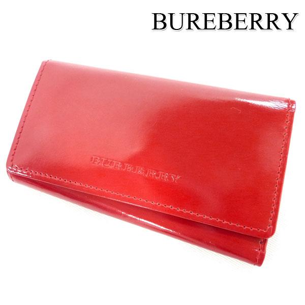 【BURBERRY】バーバリー エナメル 4連 キーケース 赤 レッド 【中古】
