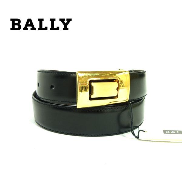 【BALLY】バリー ベルト レザー ブラック×ゴールド金具 黒×金色金具 ウエスト約106-116cm 【中古】