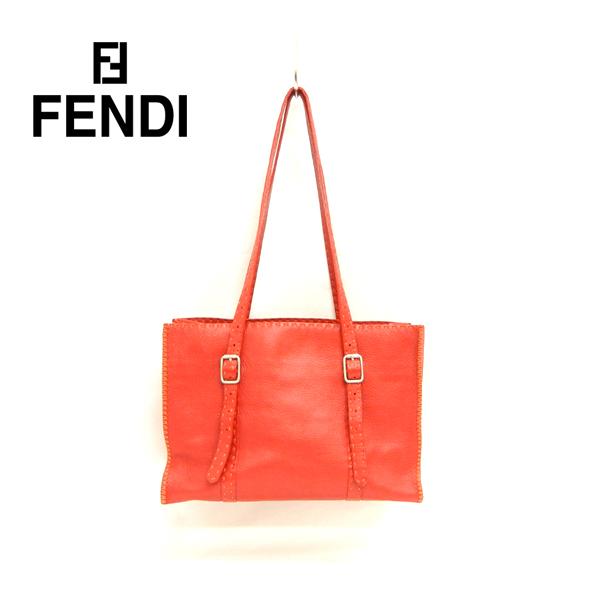 【FENDI】フェンディ セレリア トートバッグ ショルダーバッグ レザー レッド 赤【中古】