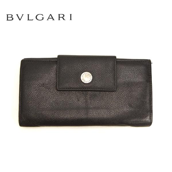 【BVLGARI】ブルガリ Wホック 三つ折り 長財布 小銭入れ付 レザー 革 ブラック 黒 箱付【中古】