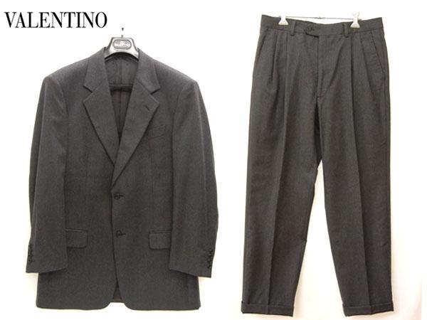 【VALENTINO】ヴァレンティノ バレンチノ セットアップスーツ 上下組 2ボタン シングルジャケット 2タックパンツ サイズ48 ダークグレー イタリア製 【中古】