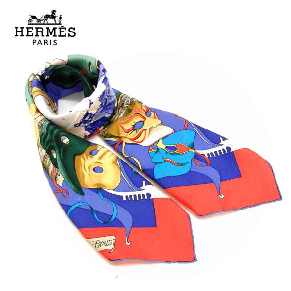 【HERMES】CARRE 90 LE CARNAVAL DE VENISE エルメス カレ スカーフ ベニスのカーニバル シルク100% 正方形 レッド×ブルー系 赤×青 フランス製 ケース付【中古】