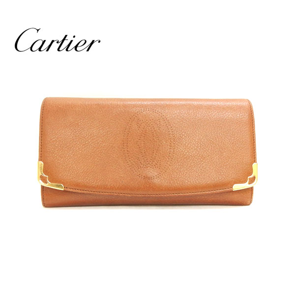 【Cartier】 カルティエ マルチェロ 長財布 レザー 革 キャメル×ゴールド金具 ブラウン CRL3000815 箱付【中古】