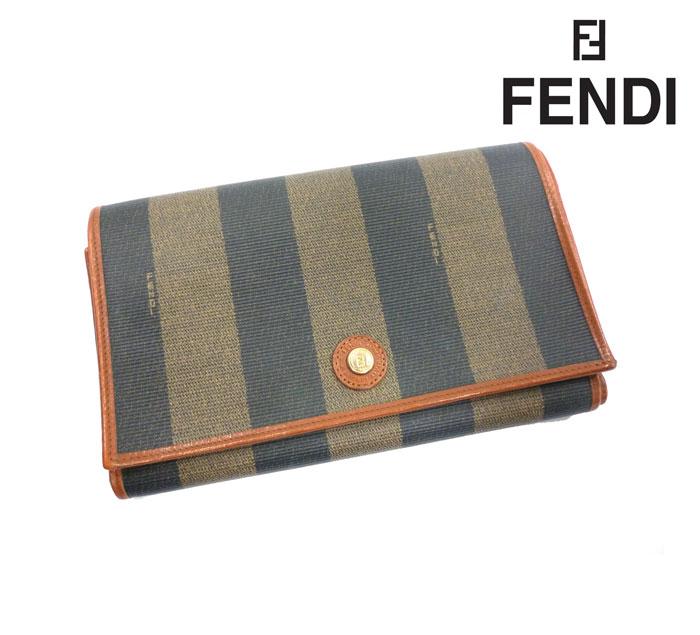【FENDI】フェンディ 三つ折り財布 メンズ レディース 男女兼用 ペカン PVC×レザー RC0045【中古】