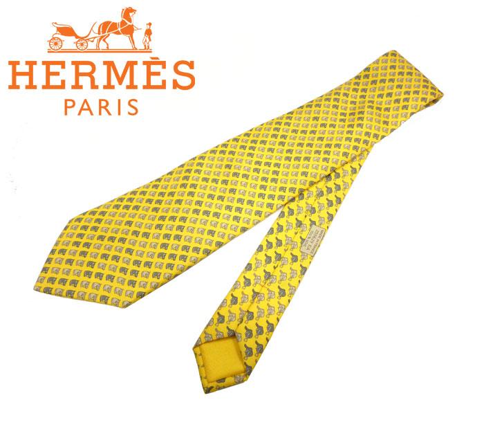 【HERMES】エルメス ネクタイ 馬柄 ホース柄 イエロー系 シルク100% メンズ フランス製 絹 RC0130【中古】